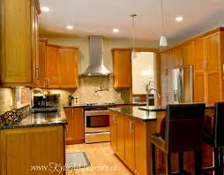 kitchen room natural cherry wood cabinets with living natural