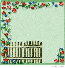 garden gate flowers templates garden gate scrapbook page stock illustration
