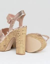 the best seller new look metallic cork platform heel rose gold