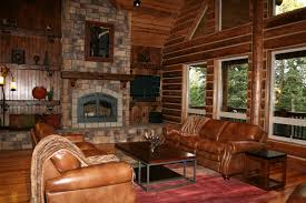 interior fetching log cabin homes interior decoration using light
