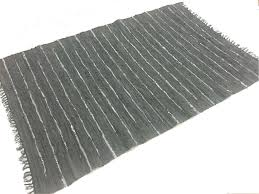 Rag Rug Runner Rugs Large Nordal Design Grey 100 Leather 200 X 300 Cm
