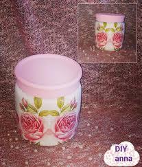 decoupage mason jar with glitter diy ideas decorations craft