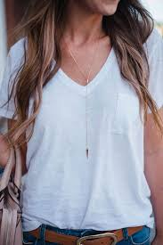 white shirt white necklace images Casual chic outfit baubles pinterest shirts jewelry jpg