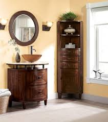bathroom corner linen cabinet with round bathroom mirrors with