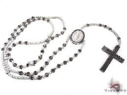white rosary black and white gold diamond rosary 19027