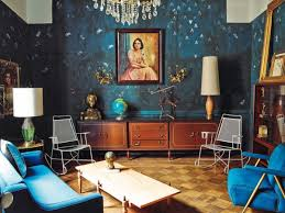 eclectic interior design living room blue walls furniture the
