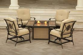 Patio Furniture With Fire Pit Set - hanover traditions 5 piece outdoor fire pit table set