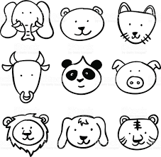 cartoon animal head collection in black and white stock vector art