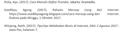 cara membuat daftar pustaka dari internet tanpa nama cara menulis daftar pustaka sesuai ebi ejaan bahasa indonesia