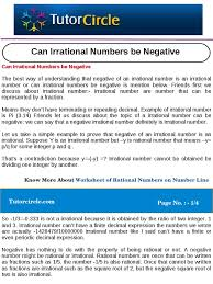 can irrational numbers be negative numbers rational number