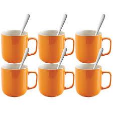 set of 6 400ml orange stoneware mugs tea coffee chocolate cups