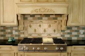 neutral colored french country kitchen backsplash with brick tiles