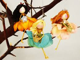 3 flower doll ornaments waldorf fairies