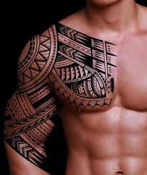 Chest And Half Sleeve - 32 amazing tribal sleeve tattoos