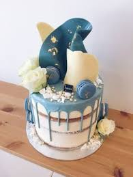 beautiful navy light blue and white drip cake for a baby shower
