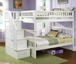 Bunk Bed Storage Stairs Bedroom White Polished Oak Wood Bunk Bed With Storage Stair And