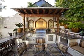 summer kitchen designs moroccan style summer kitchen with marble counters and tiled