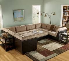 Mocha Ottoman Sectional Sofa With Ottomans And Faux Leather Lodi Stockton