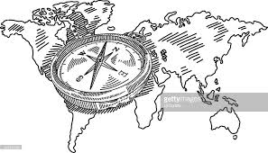 compass with world map drawing vector art getty images