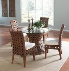 Boca Rattan Biscayne Swivel Rocker Indoor Wicker Dining Sets - Round dining table with wicker chairs