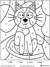 preschool coloring pages with numbers color by number cat number learning and eye