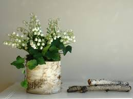 lily of the valley birch bark vases arrangement home decor