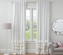 appealing white ruffle blackout curtains and black curtain