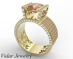 custom wedding rings princess cut morganite engagement ring unique jewelry vidar