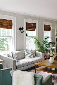 Bamboo Shades Blinds A Quaint And Character Filled New Jersey Home Gray Living Rooms