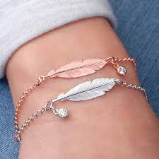 rose gold silver bracelet images Silver and rose gold double feather bracelet by penelopetom jpg