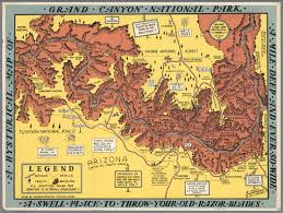 Grand Canyon On A Map A Hysterical Map Of The Grand Canyon National Park David Rumsey