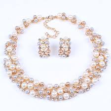 fashion pearl necklace set images Buy online necklace set ribbon shaped pendant set gold plated jpg