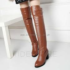 light brown boots womens womens black light brown boots over the knee pu round block high