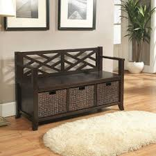 Entryway Baskets Beautiful Storage Bench For Entryway With Baskets On Dark Brown