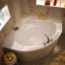corner soaking tub for small space and recessed wall shelf
