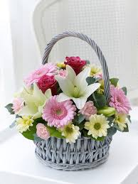 flower basket this delicate basket arrangement with its gentle colours and soft