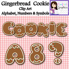 gingerbread christmas cookie clip art alphabet numbers symbols