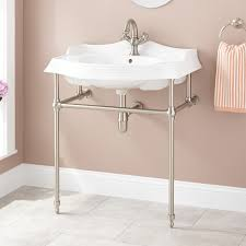 koltn porcelain console sink with brass stand bathroom