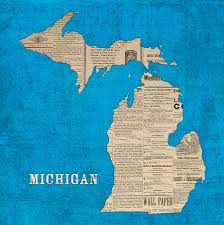 Lansing Michigan Map by Michigan Map Made Of Vintage Newspaper Clippings On Blue Canvas