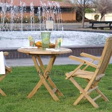 Patio Furniture Nyc by Teak Table Set Cairns Round Table U0026 New York Folding Arm Chair