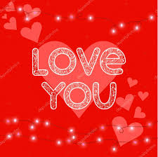 Design For Valentines Card Bright Colored Illustration With Hearts Hand Drawing Love Word