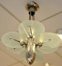 Art Deco Chandeliers For Sale Art Deco Silver Plated Bronze Chandelier With 6 Plates 1930s For
