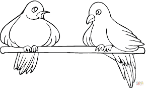 two pigeons coloring page free printable coloring pages