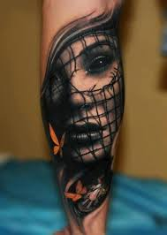biomechanical tattoo face collection of 25 biomechanical woman face tattoo on leg