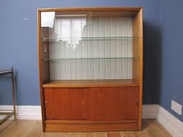 Bookcases With Sliding Glass Doors Mid Century Teak Herbert Gibbs Display Cabinet Bookcase Sliding