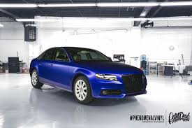light pink audi audi a4 wrapped in satin mystic blue