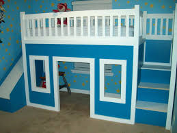 bunk beds with stairs and slide and desk home design ideas