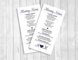 invitations by susan weddings by susan printable 8x4 wedding kissing menu custom