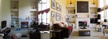 redesigned staged living room before and after in chester county