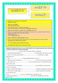 8 free esl used to and would worksheets